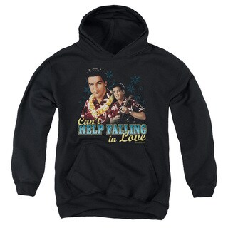 Elvis/Can't Help Falling Youth Pull-Over Hoodie in Black