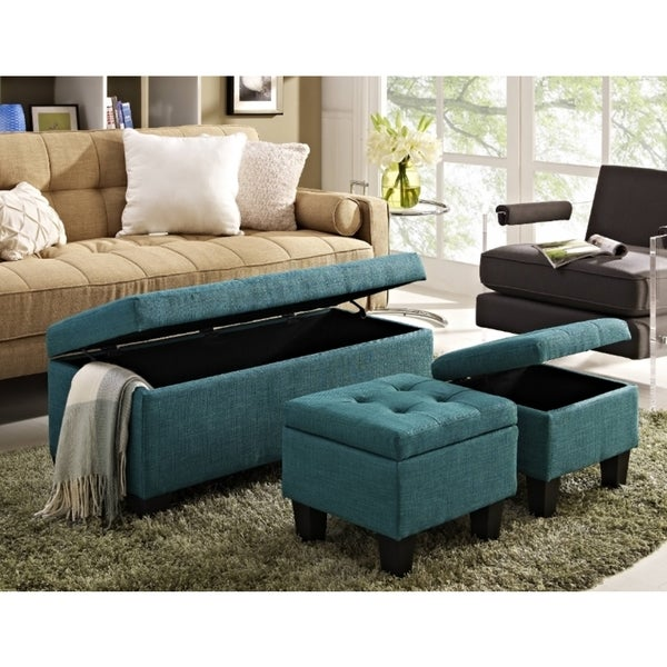 Picket House Everett 3 piece Storage Ottoman in Teal - Picket House Everett 3 Piece Storage Ottoman In Teal - Free