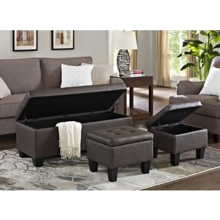Picket House Everett 3pk Storage Ottoman in Brown Faux Leather