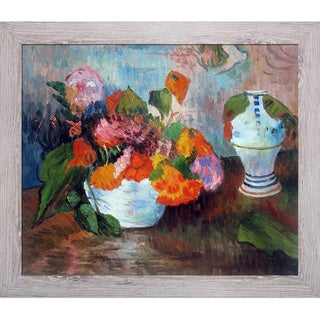 Paul Gauguin 'The Vase of Nasturtiums 1886' Hand Painted Framed Canvas Art