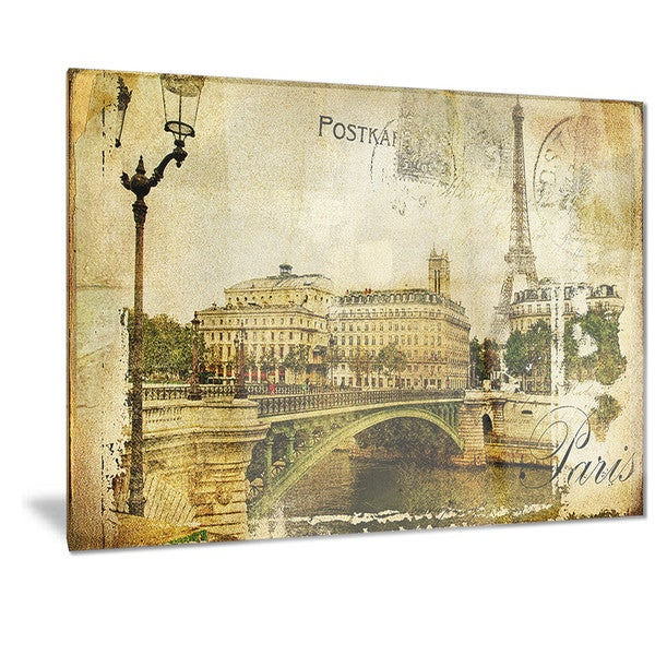 Shop Designart \'Vintage Paris\' Digital Art Cityscape Metal Wall Art ...