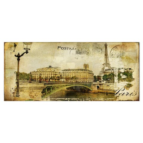 Designart 'Vintage Paris' Digital Art Cityscape Metal Wall Art