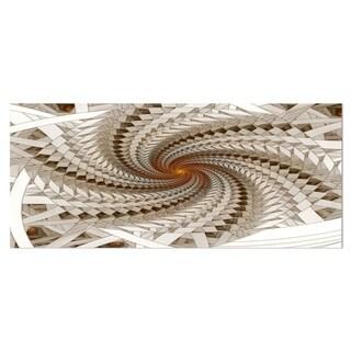 Designart 'White Fractal Spiral Pattern' Digital Art Metal Wall Art