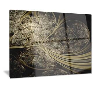 Designart 'White Metallic Fabric Pattern' Digital Art Metal Wall Art