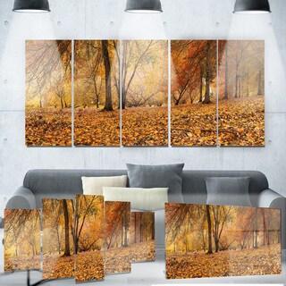 Designart 'Brown Autumn Panorama' Landscape Photo Metal Wall Art