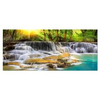 Designart 'Wide View of Erawan Waterfall' Landscape Metal Wall Art