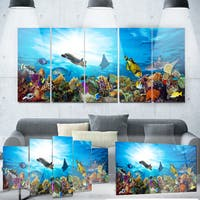 Designart 'Colorful Coral Reef with Fishes' Seascape Photo Metal Wall Art