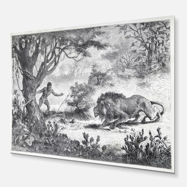 Designart Lion Eating Man Landscape Animal Metal Wall Art Overstock 11869778