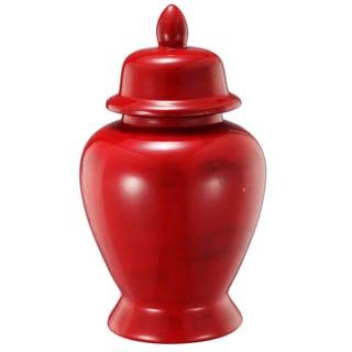 Crimson Ceramic 10-inch x 17-inch Stria Tall Ginger Jar