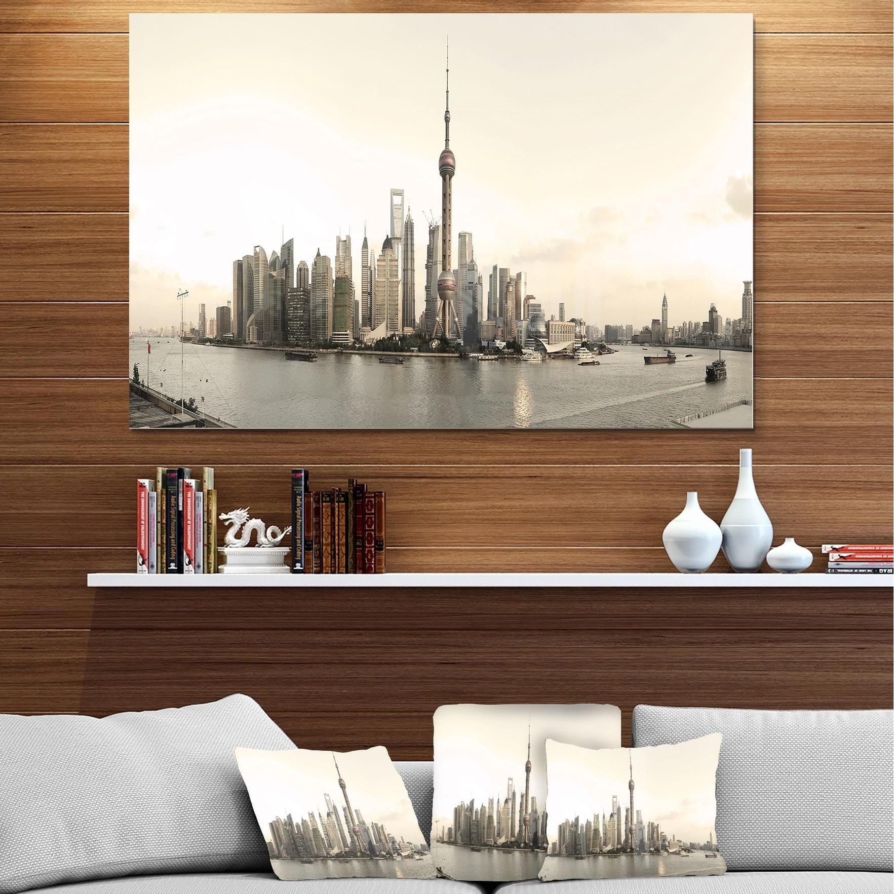 Designart Shanghai S Modern Architecture Cityscape Photo Metal Wall Art Overstock 11869814