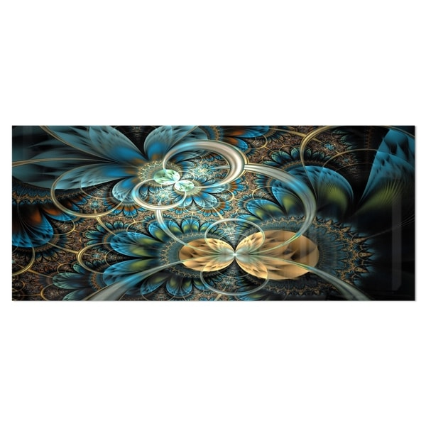 Designart 'Symmetrical Blue Gold Fractal Flower' Digital Art Metal Wall Art