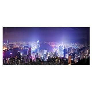 Link to Designart 'Hong Kong Night City' Cityscape Photo Metal Wall Art Similar Items in Metal Art