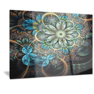 Designart 'Lighted Blue Fractal Blue Flowers' Digital Art Floral Metal Wall Art