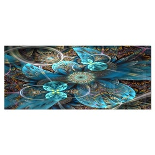 Designart 'Fractal Blue Flowers' Digital Art Floral Metal Wall Art