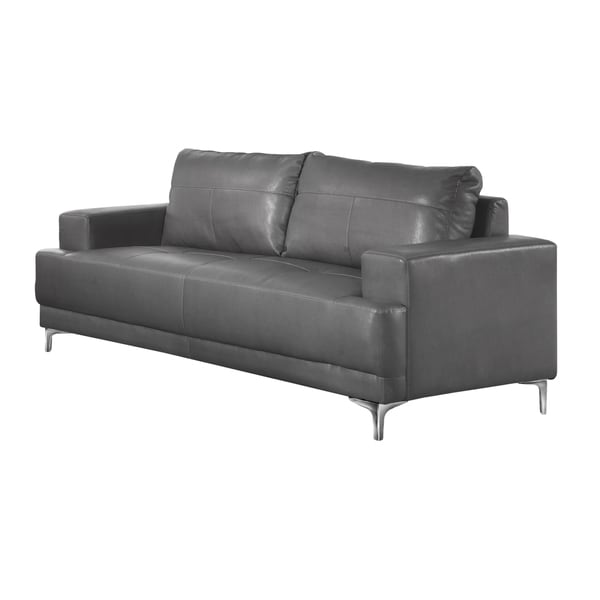 monarch charcoal grey bonded leather sofa free shipping today 18768565. Black Bedroom Furniture Sets. Home Design Ideas