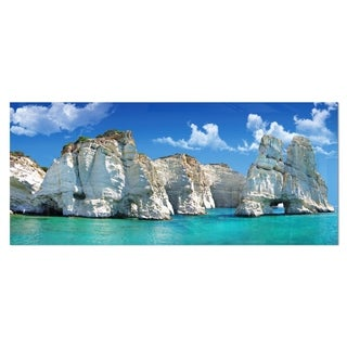 Designart 'Greek Holidays' Cityscape Photo Metal Wall Art