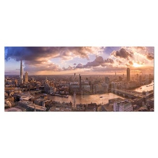 Designart 'Sunset through Clouds in London' Photo Metal Wall Art