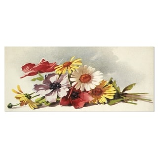 Designart 'Flowers Illustration' Floral Wall Art Metal Wall Art