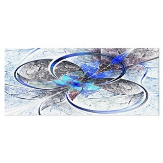 Designart 'Symmetrical Blue Fractal Flower' Digital Art Metal Wall Art