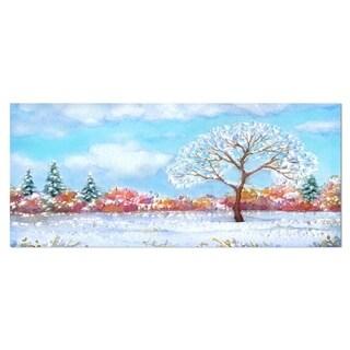 Designart 'Tree in Winter' Watercolor Painting Landscape Metal Wall Art