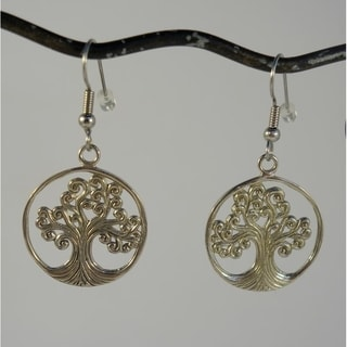 Handmade Tree of Life Silvertone Brass Dangle Earrings (Indonesia)