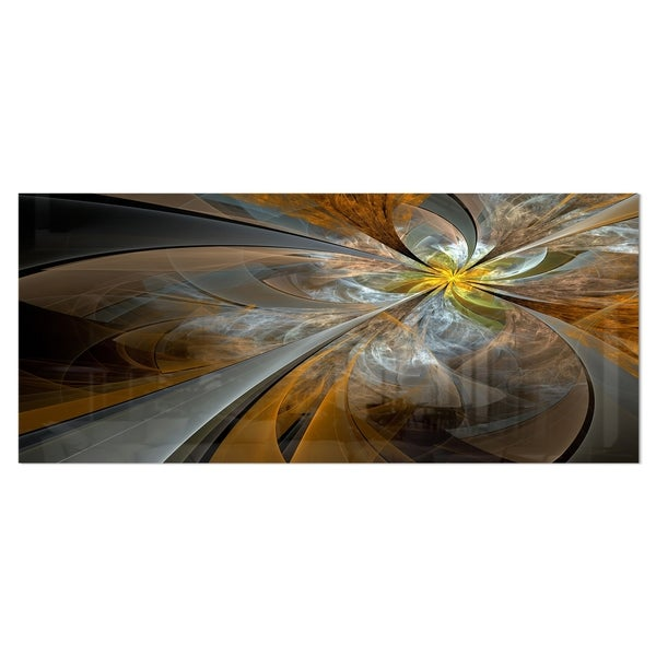 Designart 'Symmetrical Yellow Fractal Flower' Digital Art Metal Wall Art