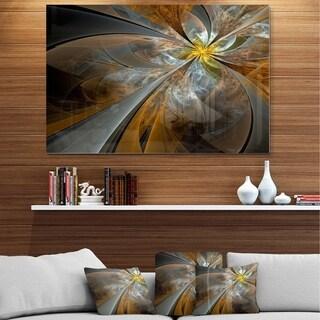 Designart 'Symmetrical Yellow Fractal Flower' Digital Art Metal Wall Art