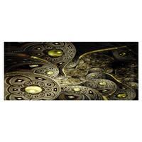 Designart 'Symmetrical Gold Fractal Flower' Digital Art Floral Metal Wall Art