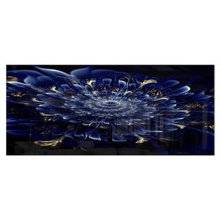 Designart 'Blue Fractal Flower' Digital Art Floral Metal Wall Art