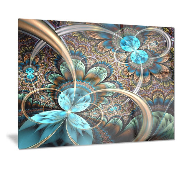 Blue Metal Wall Art designart 'light blue fractal flower' digital art floral metal