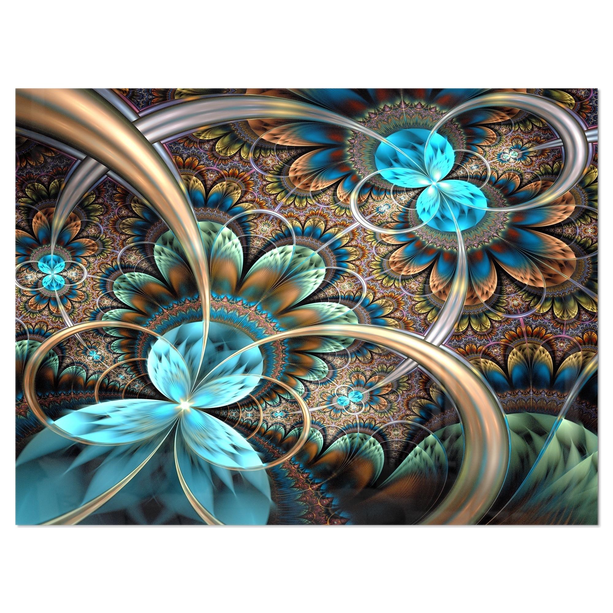 Designart Light Blue Fractal Flower Digital Art Floral Metal Wall Art Overstock 11870030