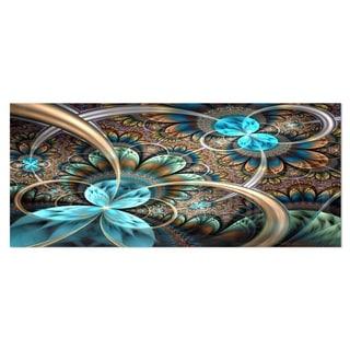 Designart 'Light Blue Fractal Flower' Digital Art Floral Metal Wall Art