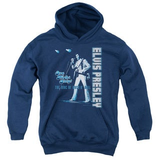 Elvis/One Night Only Youth Pull-Over Hoodie in Navy
