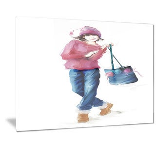 Designart 'Fashion Young Girl in Red' Portrait Metal Wall Art