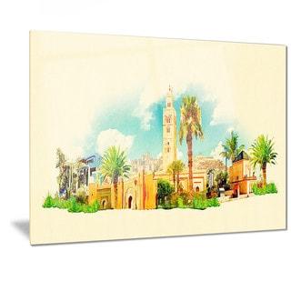 Designart 'Marakesh Panoramic View' Cityscape Watercolor Metal Wall Art
