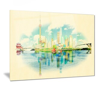Designart 'Shanghai Panoramic View' Cityscape Watercolor Metal Wall Art