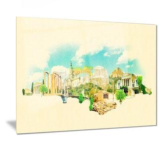Designart 'Athens Panoramic View' Cityscape Watercolor Metal Wall Art