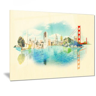 Designart 'San Francisco Panoramic View' Cityscape Watercolor Metal Wall Art