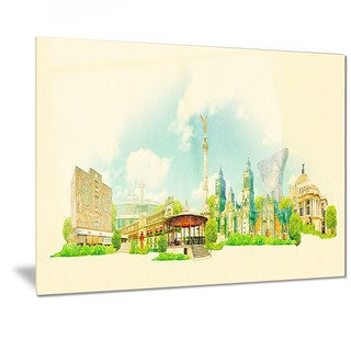 Designart 'Mexico City Panoramic View' Cityscape Watercolor Metal Wall Art