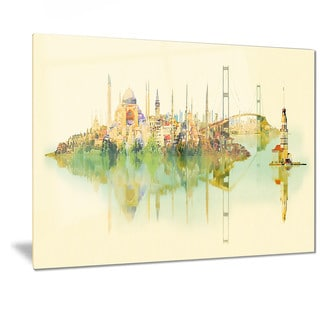 Designart 'Istanbul Panoramic View' Cityscape Watercolor Metal Wall Art