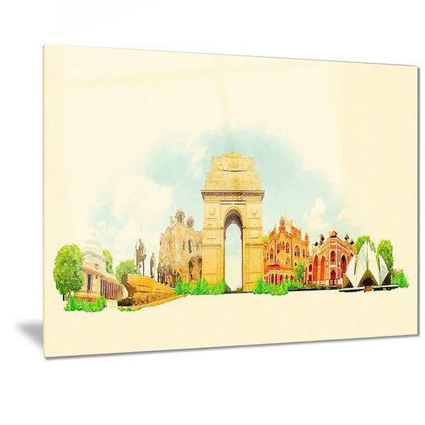 Garden Decor Delhi: Shop Designart 'Delhi Panoramic View' Cityscape Watercolor