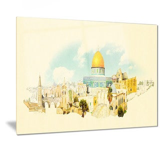Designart 'Jerusalem Panoramic View' Cityscape Watercolor Metal Wall Art