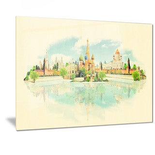 Designart 'Moscow Panoramic View' Cityscape Watercolor Metal Wall Art