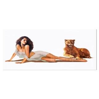 Designart 'Sexy Woman with Lion' Portrait Digital Art Metal Wall Art