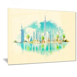 Designart 'Dubai Panoramic View' Cityscape Watercolor Metal Wall Art