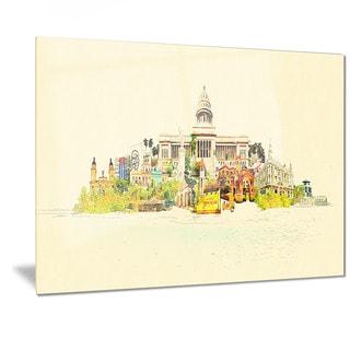 Designart 'Havana Panoramic View' Cityscape Watercolor Metal Wall Art