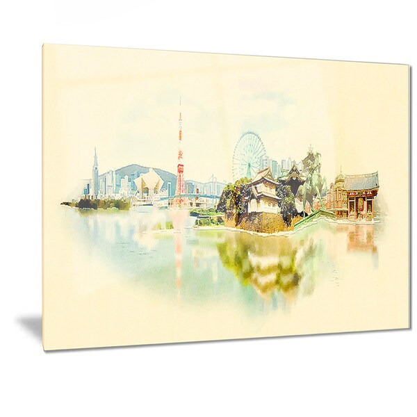 Designart \'Tokyo Panoramic View\' Cityscape Watercolor Metal Wall Art ...