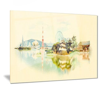 Designart 'Tokyo Panoramic View' Cityscape Watercolor Metal Wall Art