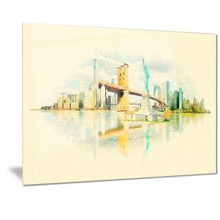 Designart 'New York Panoramic View' Cityscape Watercolor Metal Wall Art