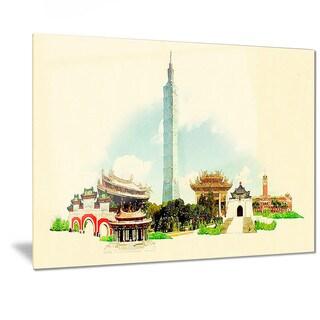 Designart 'Taipei Panoramic View' Cityscape Watercolor Metal Wall Art
